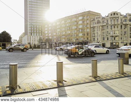 Moscow, Russia - August 08, 2021. Taxi And Rented Cars On City Road In Historical Center Of Moscow.