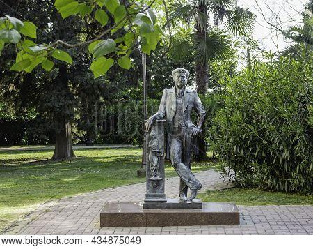 Sochi, Russia - May 27, 2021. Statue Of Famous Russian Poet Pushkin A.s. Near Pushkin City Library.