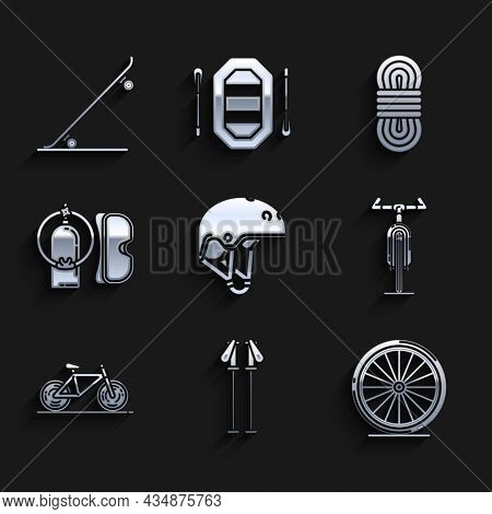 Set Helmet, Ski Poles, Bicycle Wheel, Diving Mask And Aqualung, Climber Rope And Skateboard Icon. Ve