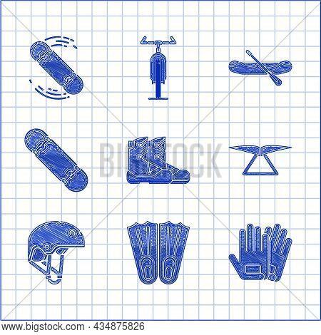 Set Boots, Rubber Flippers For Swimming, Gloves, Hang Glider, Helmet, Skateboard Trick, Rafting Boat