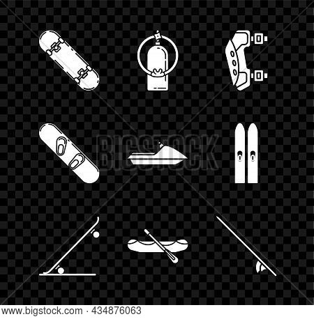 Set Skateboard Trick, Aqualung, Knee Pads, Rafting Boat, Surfboard, Snowboard And Jet Ski Icon. Vect