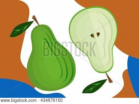 Vector Image Of Fruits For Design. Pear And Pear In The Section