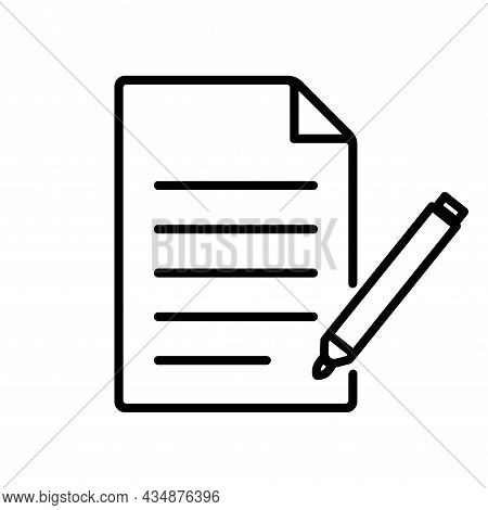 Document Icon Pen For Web Page Design. Paper Sign Isolated On White Background. Notepad Symbol. Vect