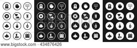 Set Hanukkah Menorah, Jewish Goblet And Hanukkah Sufganiyot, Coin, Tombstone With Star Of David, Tor