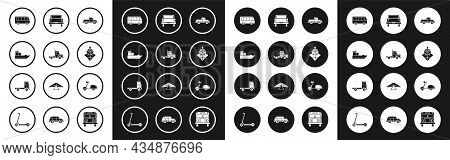 Set Pickup Truck, Delivery Cargo Vehicle, Cargo Ship, Bus, Scooter And Icon. Vector
