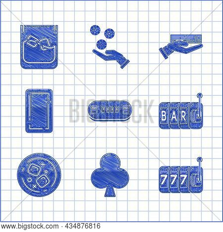 Set Poker Table, Playing Card With Clubs Symbol, Slot Machine Lucky Sevens Jackpot, Glass Of Whiskey