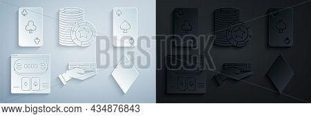 Set Hand Holding Deck Of Playing Cards, Playing With Spades Symbol, Online Poker Table Game, Diamond