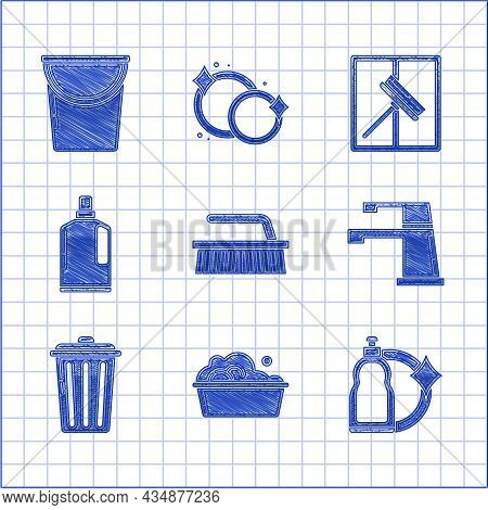 Set Brush For Cleaning, Plastic Basin With Soap Suds, Bottles Liquid Dishwashing Liquid, Water Tap,