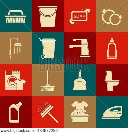 Set Electric Iron, Toilet Bowl, Plastic Bottles For Liquid Dishwashing Liquid, Bar Of Soap With Foam