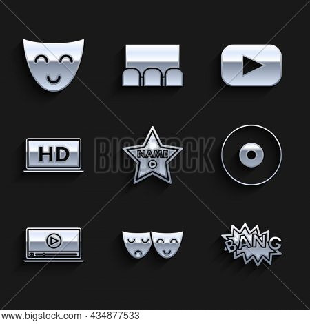 Set Hollywood Walk Of Fame Star On Celebrity Boulevard, Bang Boom Text Speech Bubble Balloon, Cd Or
