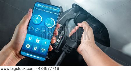 Ev Charging Station For Electric Car With Mobile App Display Charger Status . The Electric Power Is