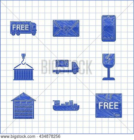 Set Post Truck, Cargo Ship With Boxes Delivery Service, Cardboard Free Symbol, Fragile Broken Glass,