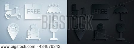 Set Scale With Cardboard Box, Umbrella And Rain Drops, Placeholder On Map Paper, Fragile Broken Glas
