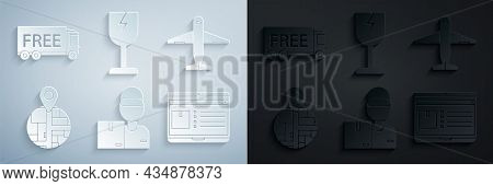 Set Delivery Man With Cardboard Boxes, Plane, , Laptop App Delivery Tracking, Fragile Broken Glass S