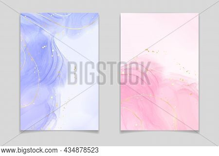 Lavender And Pink Liquid Watercolor Background With Golden Lines And Dots. Violet And Rose Marble Al