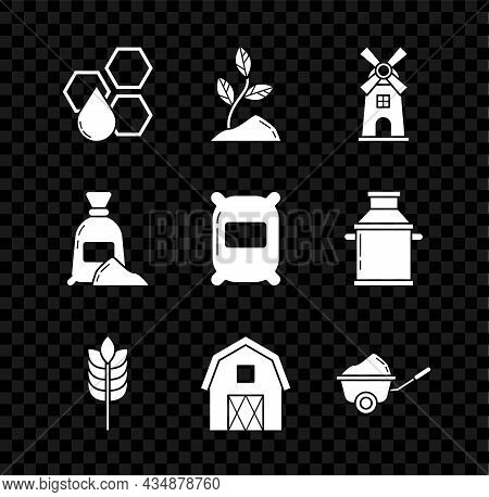 Set Honeycomb, Sprout, Windmill, Cereals With Rice, Wheat, Corn, Oats, Rye, Farm House Concept, Whee