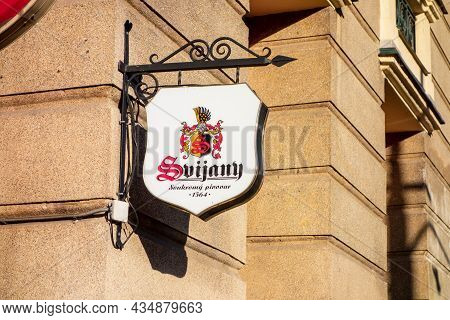 Ostrava, Czech Republic - June 2, 2021: The Banner Of Historic Czech Svijany Brewery Above The Entra