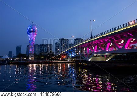 Shanghai, China - April 17, 2017: The Bright Marine Tower And Longteng Avenue With A Bridge In West