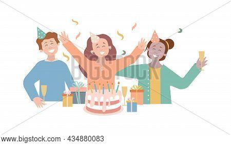 Group Of Happy People Raising Hands Celebrating Birthday, Anniversary. Celebrating Vector Flat Illus