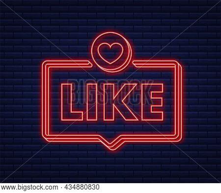Blue Like Neon On Light Background. Thumb Up Icon. Social Media Network. Vector Stock Illustration.