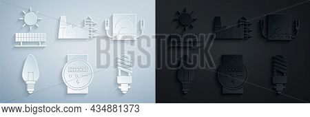 Set Electric Meter, Ampere Meter, Multimeter, Voltmeter, Light Bulb, Led Light, Power Station Plant