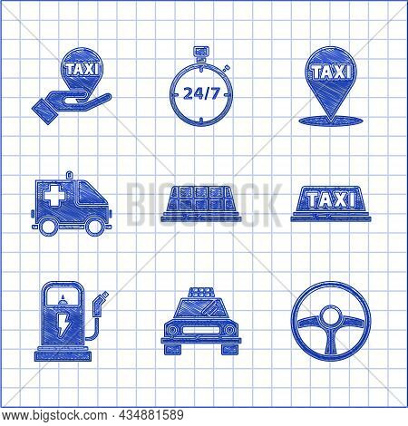 Set Taxi Car Roof, Steering Wheel, Electric Charging Station, Ambulance And Emergency, Map Pointer W