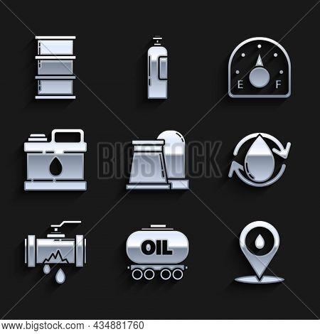 Set Oil And Gas Industrial Factory Building, Refill Petrol Fuel Location, Drop, Broken Metal Pipe Wi