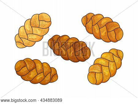 Challah Vector Set. Holiday Jewish Braided Loaf Icons, Cartoon Shabbat Bread Isolated On White Backg
