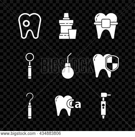 Set Tooth With Caries, Mouthwash Plastic Bottle, Teeth Braces, Dental Explorer Scaler For Teeth, Cal