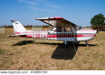 Varazdin, Croatia - July 12, 2015: Commercial Plane At Airport And Airfield. Small And Sport Aircraf