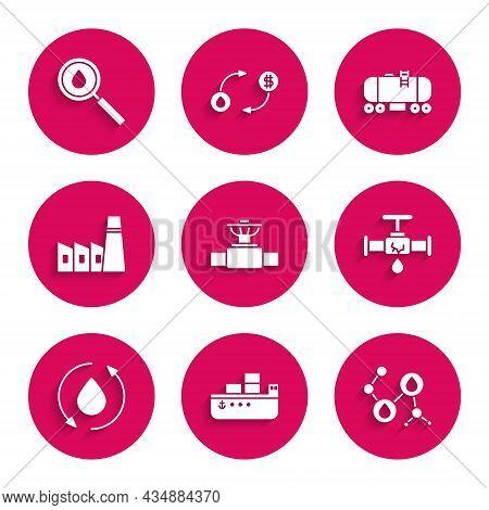 Set Industry Pipe And Valve, Oil Tanker Ship, Molecule Oil, Broken With Leaking Water, Drop, Industr
