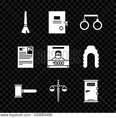 Set Paint Brush, Lawsuit Paper, Handcuffs, Judge Gavel, Scales Of Justice, Prison Cell Door, And Wan