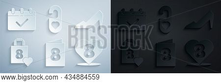 Set Greeting Card With 8 March, Woman Shoe, Shopping Bag Heart, Heart, Please Do Not Disturb And Cal