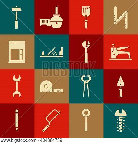 Set Metallic Screw, Trowel, Construction Stapler, Putty Knife, Wood Plane Tool, Cement Bag, Hammer A