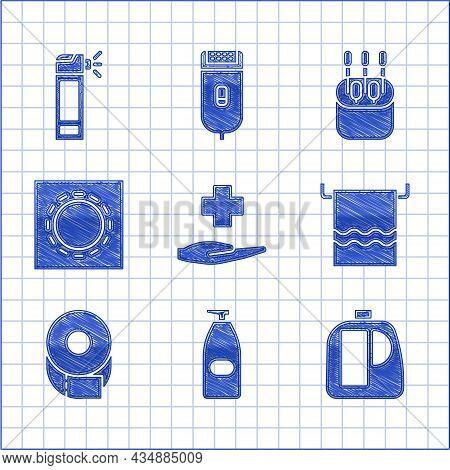 Set Cross Hospital Medical, Bottles For Cleaning Agent, Towel On Hanger, Toilet Paper Roll, Condom P