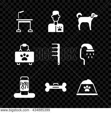 Set Pet Grooming Table, Veterinarian Doctor, Dog, Cat Scratching Post, Bone, Food Bowl, First Aid Ki