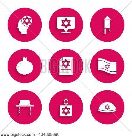 Set Torah Scroll, Burning Candle, Jewish Kippah, Flag Of Israel, Orthodox Jewish Hat, Pomegranate, F