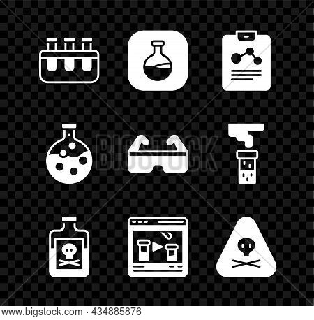 Set Test Tube And Flask, Chemistry Report, Poison In Bottle, Chemical Online, Triangle Warning Toxic