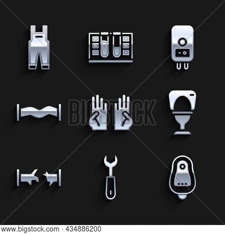 Set Rubber Gloves, Wrench Spanner, Toilet Urinal Or Pissoir, Bowl, Broken Pipe, Industry Metallic, E