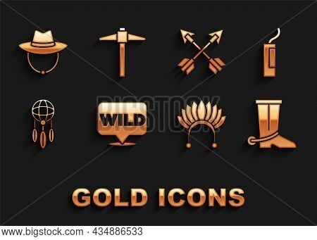 Set Pointer To Wild West, Dynamite Bomb, Cowboy Boot, Indian Headdress With Feathers, Dream Catcher,