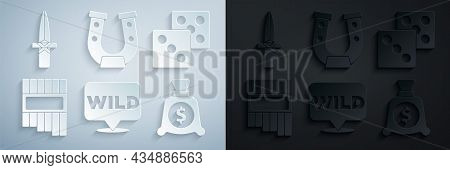 Set Pointer To Wild West, Game Dice, Pan Flute, Money Bag, Horseshoe And Dagger Icon. Vector