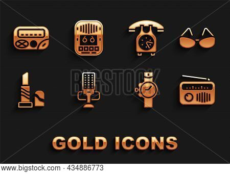 Set Microphone, Glasses, Radio With Antenna, Wrist Watch, Lipstick, Telephone Handset, Pager And Cas
