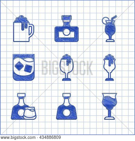 Set Glass Of Beer, Tequila Bottle, Wine Glass, Whiskey And, Whiskey, Cocktail And Wooden Mug Icon. V
