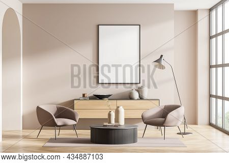 Empty Frame In Beige Living Room Interior With Panoramic Window, Seating Area With Two Armchairs, Fl