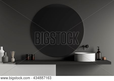 Bathroom With Sink And Large Round Mirror On Grey Wall, Bath Accessories. Modern Stylish Bathing Roo