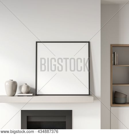 Exhibition Room Interior With Library And Books, Decoration With Vase And Fireplace. Blank Square Po