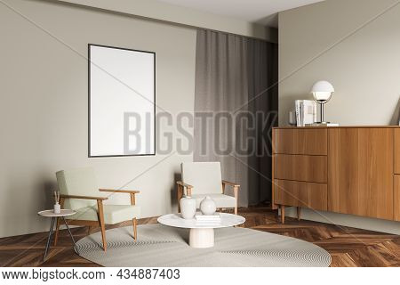 Corner Of Light Green Living Room Interior With Mockup Frame, Seating Area, Coffee Table, Sideboard,