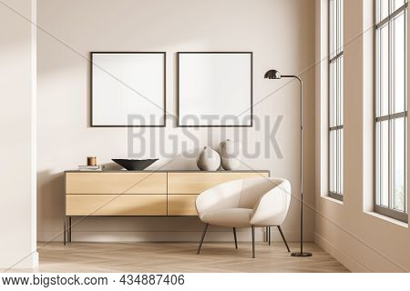 Two Empty Square Frames On Light Pink Wall In Living Room Interior With Sideboard, Single Armchair A
