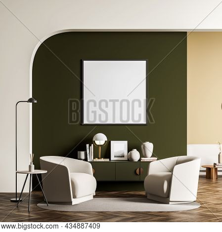 Square Canvas In The Seating Area With Green And Beige Design. Archway, Two Armchairs, Sideboard, Ne
