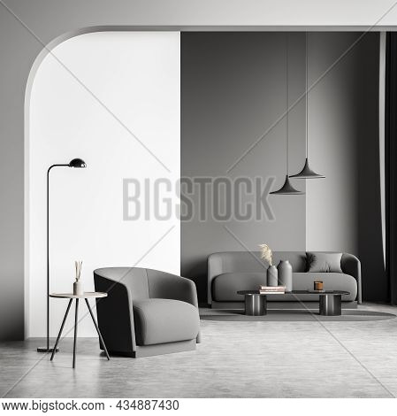 Stylish Design In Grey Shades. Living Room Interior With An Archway, On Trend Lamps, A Small Sofa, T